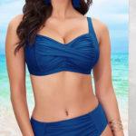 Modré bohatě řasené plavky Clyte pro ženy plných tvarů