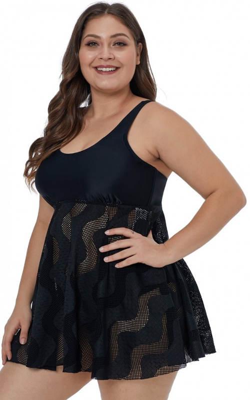 Plavkové šaty se síťovanou sukní