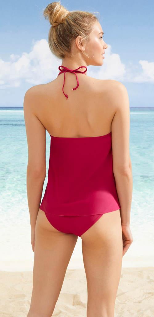 Tmavě růžové dámské plavky tankiny