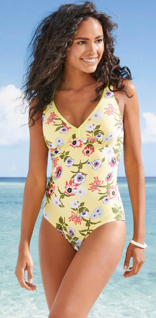 Žluté dámské jednodílné plavky s květinovým potiskem