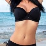 Černé vyztužené dvoudílné plavky s všitými kosticemi