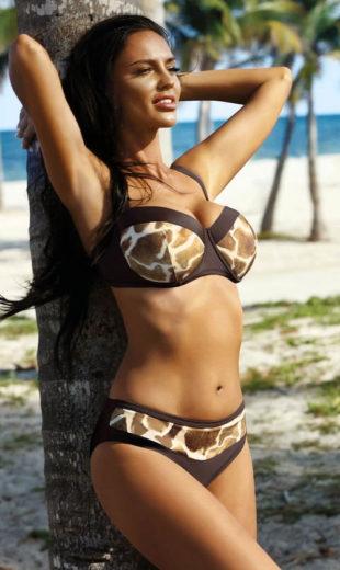 Dvoudílné plavky pro plnoštíhlé s motivem zvířecí kůže