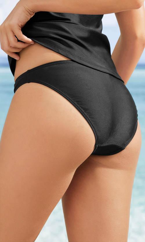 Jednobarevné černé plavkové kalhotky