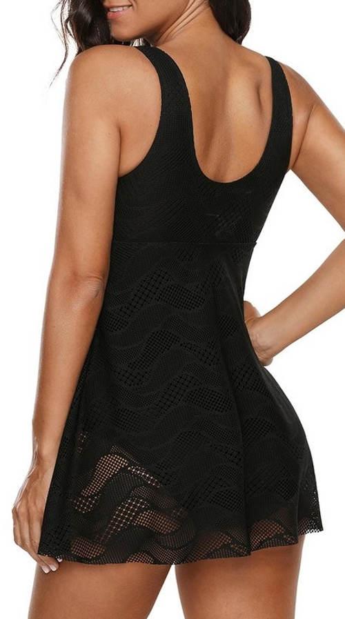 Černé jednodílné plavky s krajkovou sukní