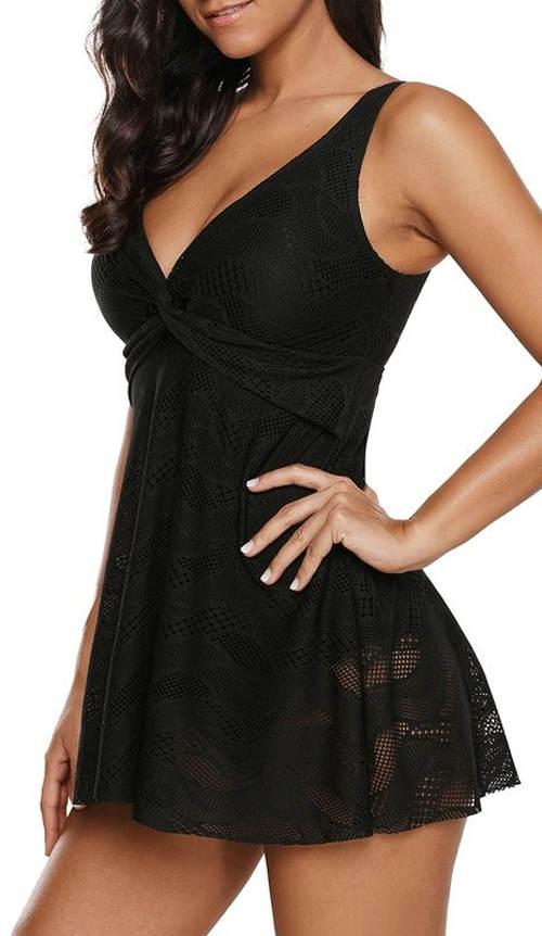 Koupací šaty černá krajka