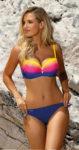 Pestrobarevné pruhované dvoudílné plavky pro větší poprsí