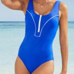 Sportovní jednodílné plavky s výstřihem na zip