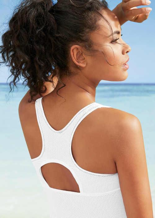 Bílé tankiny se sportovními zády