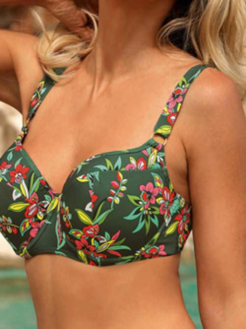Květované dámské plavky zelené barvy
