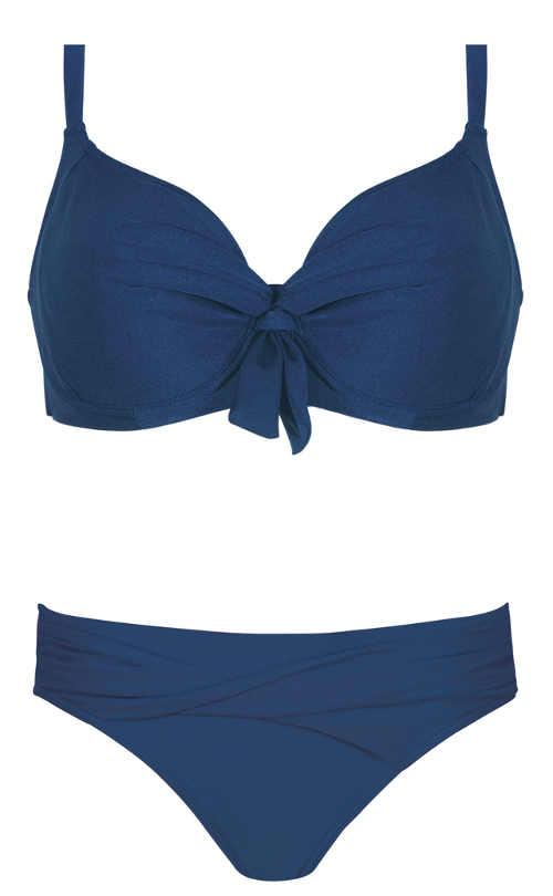 Jednobarevné modré dvoudílné plavky pro plnoštíhlé