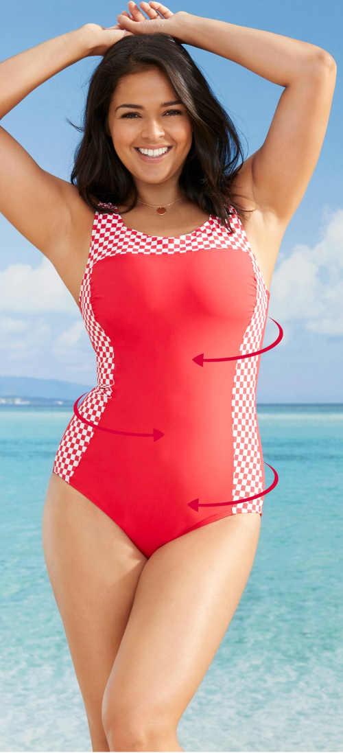 Levné zeštihlující dámské jednodílné plavky Bonprix