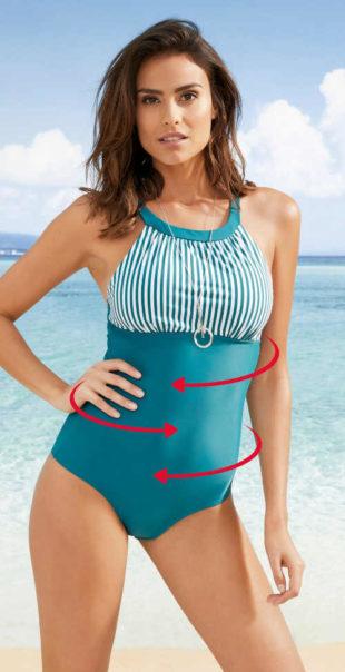 Stahovací jednodílné plavky s měkkými košíčky