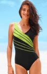 Jednodílné dámské plavky nadměrných velikostí s ozdobnými proužky
