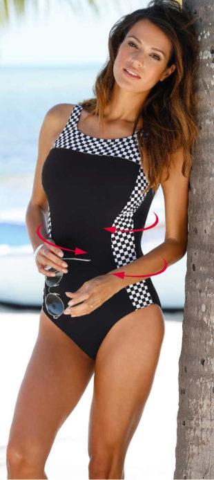 Tvarující jednodílné černo-bílé dámské plavky pro plnoštíhlé