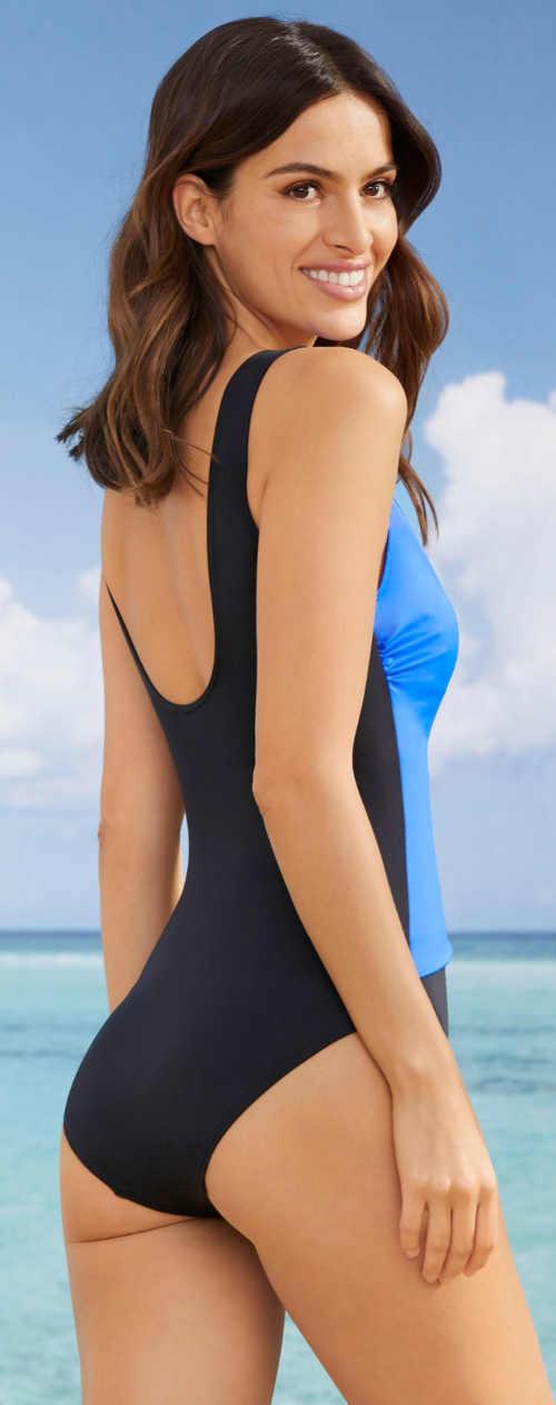 Dvoubarevné dámské jednodílné plavky nadměrných velikostí