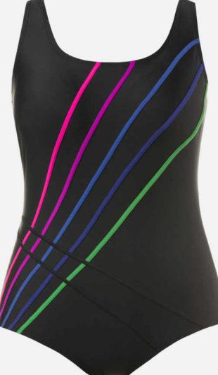 Jednodílné černé plavky zdobené barevnými proužky