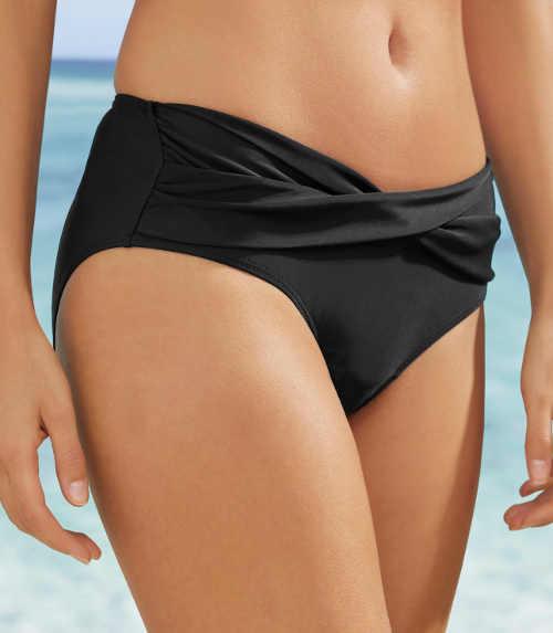 Černé plavkové kalhotky překřížený zavinovací střih