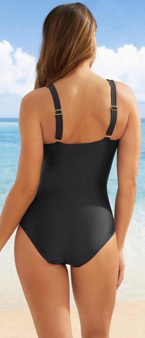 Černé jednodílné plavky s širšími nastavitelnými ramínky