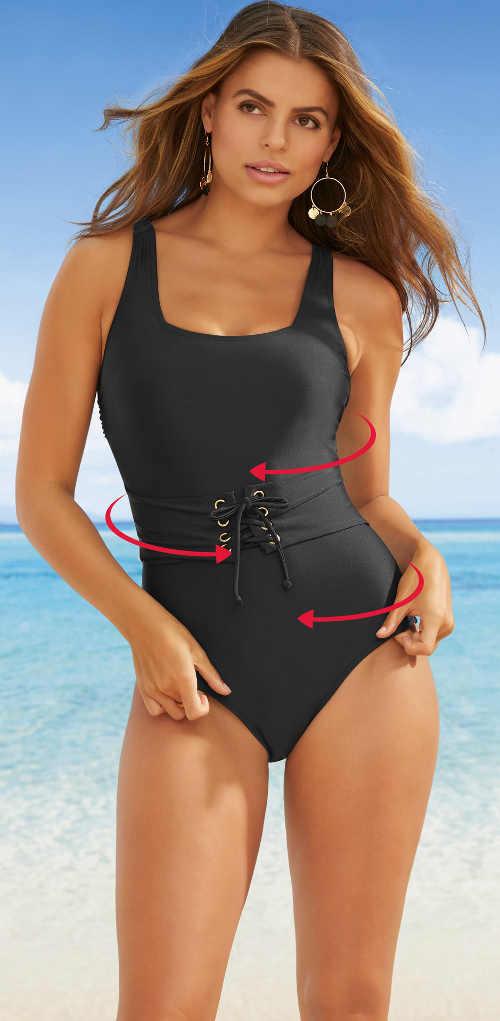 Černé jednodílné plavky se šněrovacím pásem