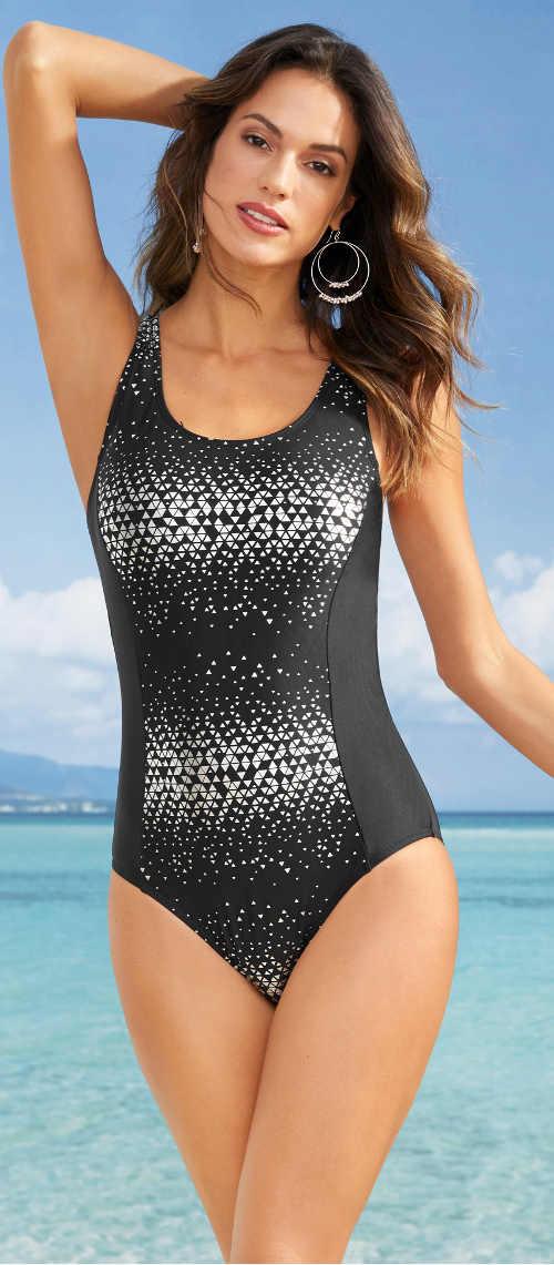 Černo stříbrné dámské jednodílné plavky