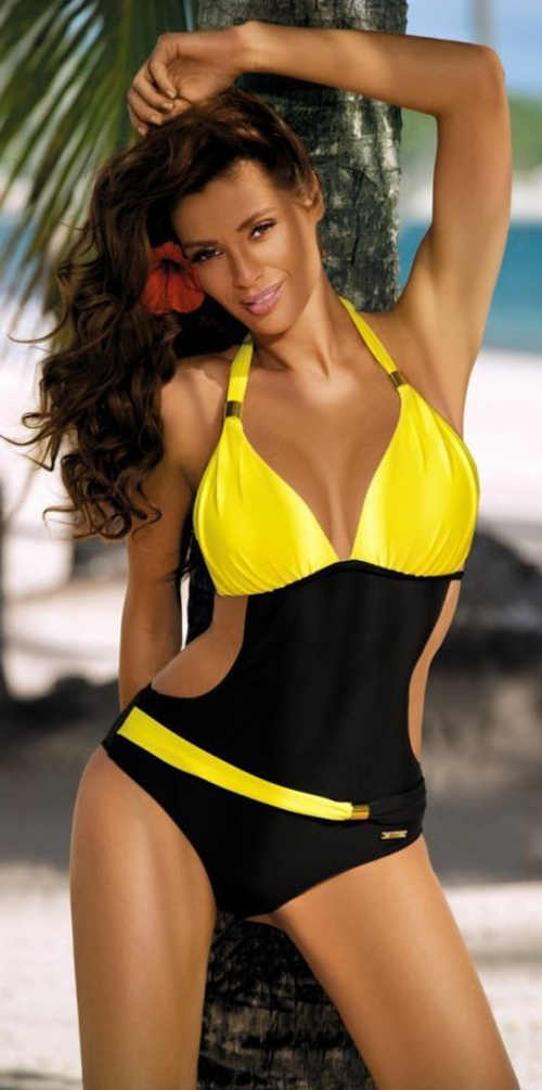Černo žluté dámské jednodílné plavky se zavazováním za krkem