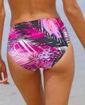 Fialovo-černé plavkové kalhotky zeštíhlující břicho a boky