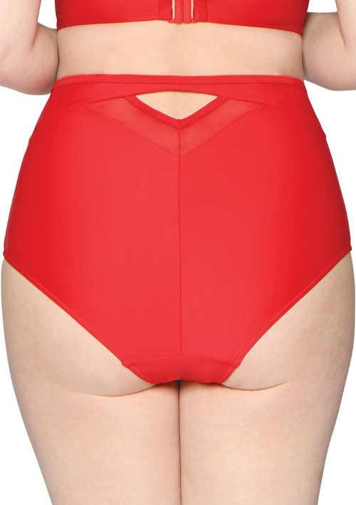 Jednobarevné červené plavky pro větší zadek