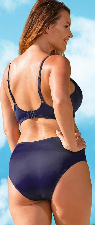 Modré dvoudílné plavky se systémem Tummy Control pro formování pasu a břicha