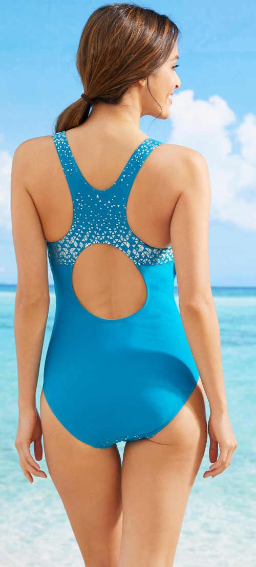 Modré sportovní dámské jednodílné plavky se stříbrnými detaily