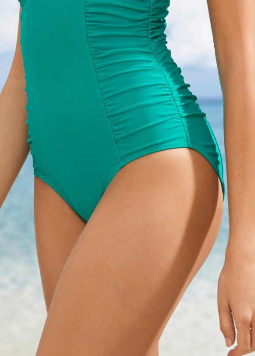 Smaragdově zelené jednodílné plavky se stahující vsadkou na bocích
