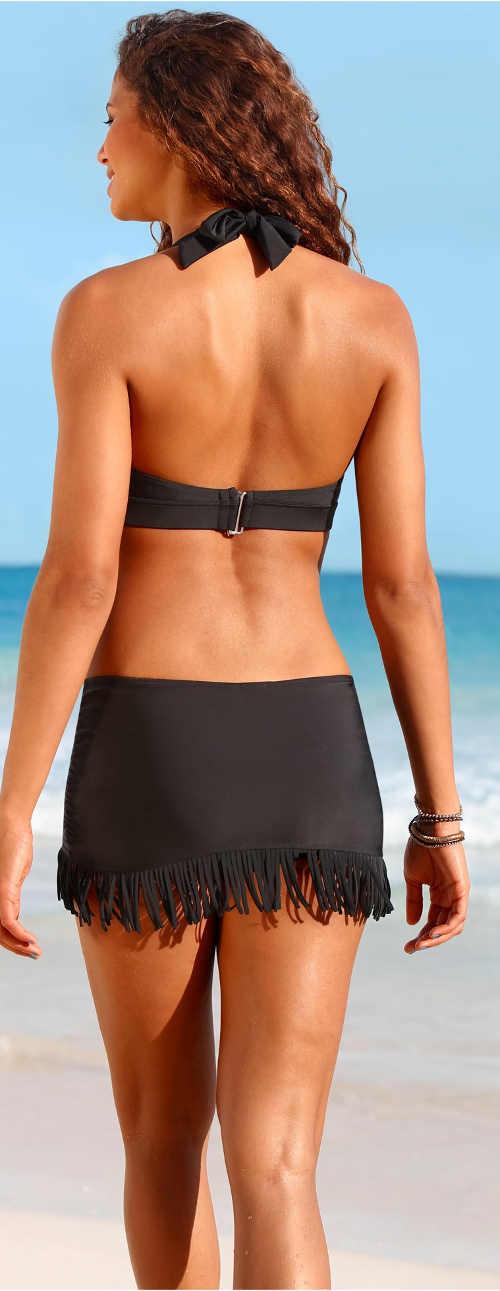 Černá plavková minisukně s všitými kalhotkami