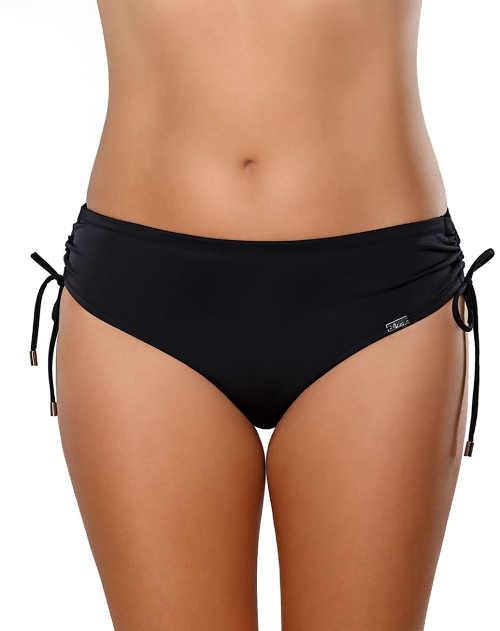 Černé dámské plavkové kalhotky se stahovacími šňůrkami na bocích