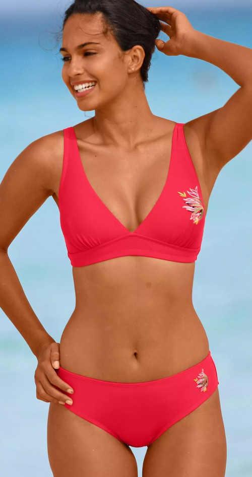 Červené dámské dvoudílné plavky pro silnější postavy vyprodej