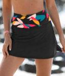 Černá plavková minisukně s nastavitelnou výškou pasu