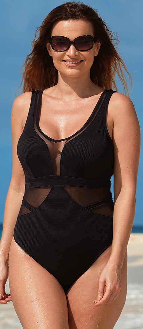 Černé jednodílné plavky pro plnější tvary s průsvitnými vsadkami
