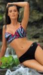 Elegantní plavky pro plnoštíhlé s vyztuženými košíčky a vysokými kalhotkami