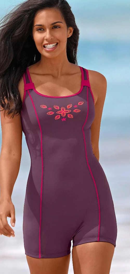 Fialové dámské nohavičkové jednodílné plavky