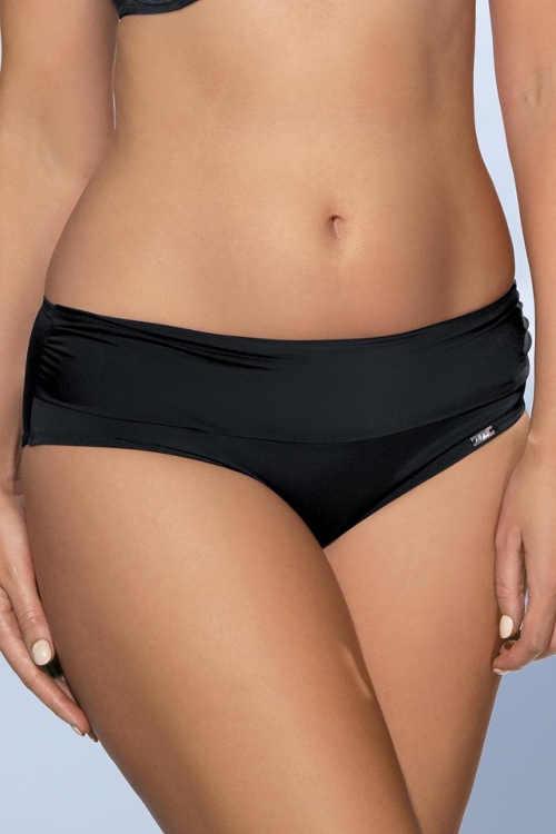 Jednobarevné černé bikinové kalhotky pro plnoštíhlé s nabíranými boky