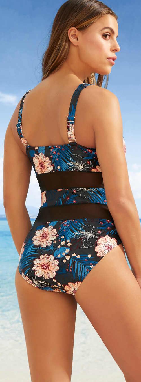 Květované jednodílné plavky Bonprix s širšími ramínky