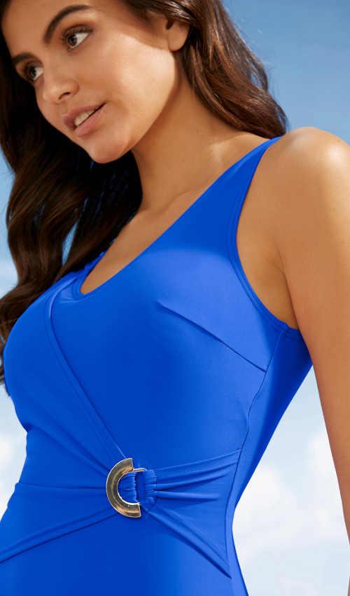 Modré dámské jednodílné plavky se stahovacím zavinutím