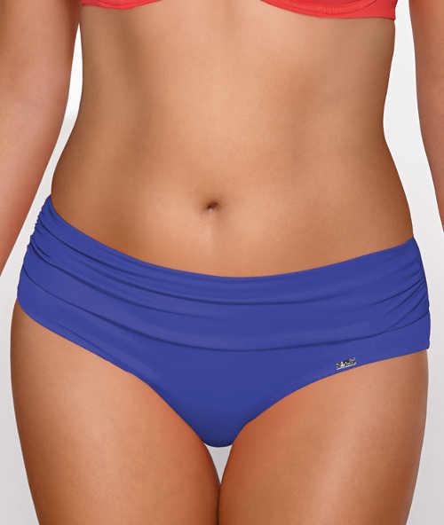 Modré plavkové kalhotky pro plnější tvary