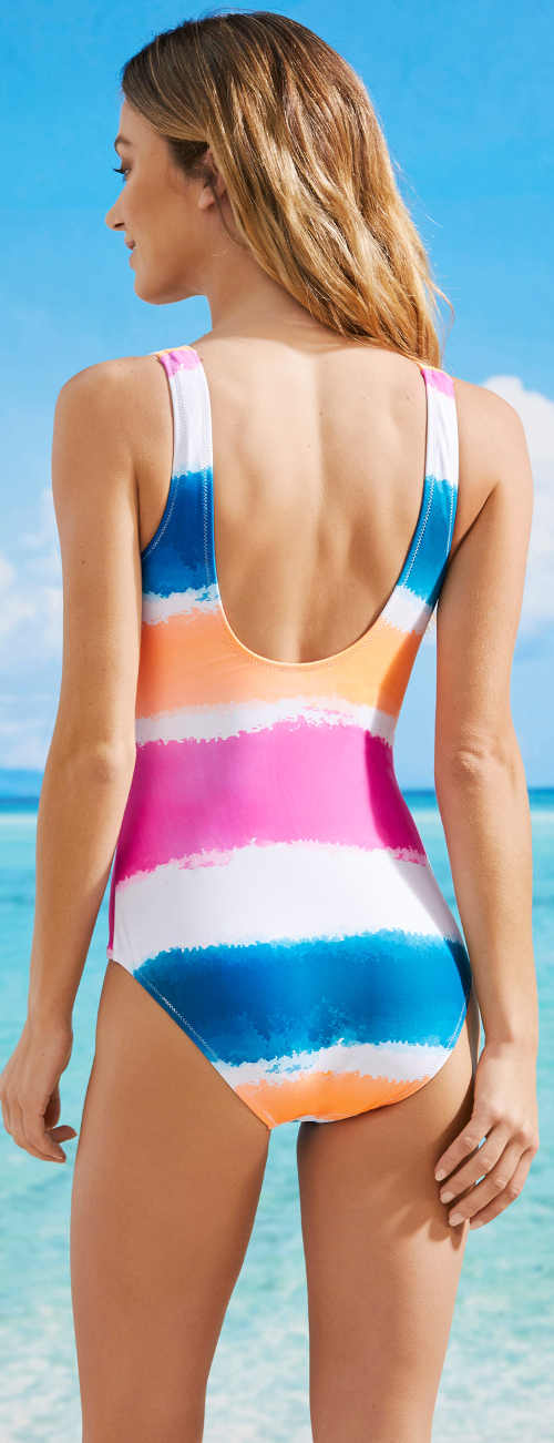 Pestrobarevné dámské jednodílné pruhované plavky