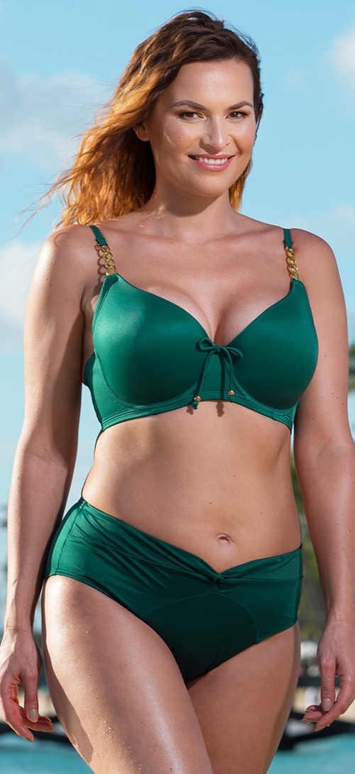 Zelené dvoudílné plavky pro plnoštíhlé Filao se zlatými aplikacemi