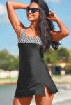 Černo-bílé dámské plavky se sukní