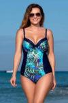 Jednodílné plavky s efektivním provedením a exotickým vzorem