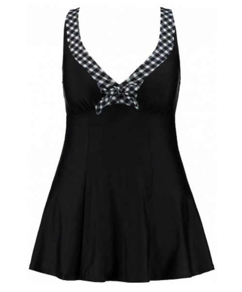 praktické plavkové šaty v černém provedení