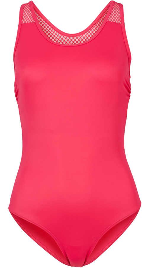 Jednobarevné růžové jednodílné plavky pro plnoštíhlé