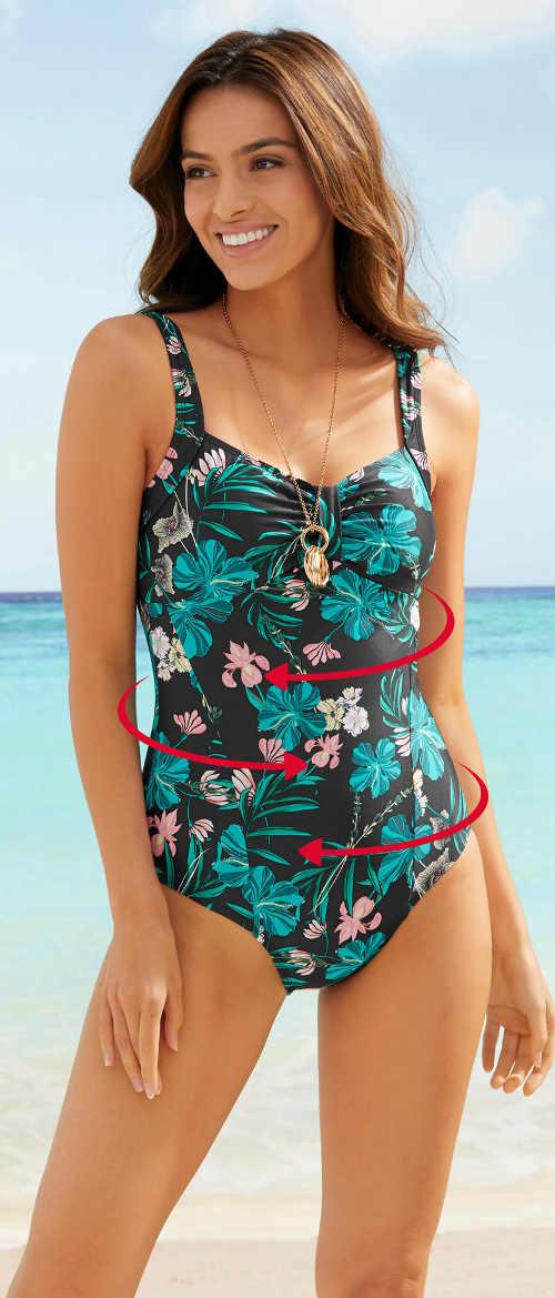 Stahovací jednodílné plavky s exotickým květinovým vzorem