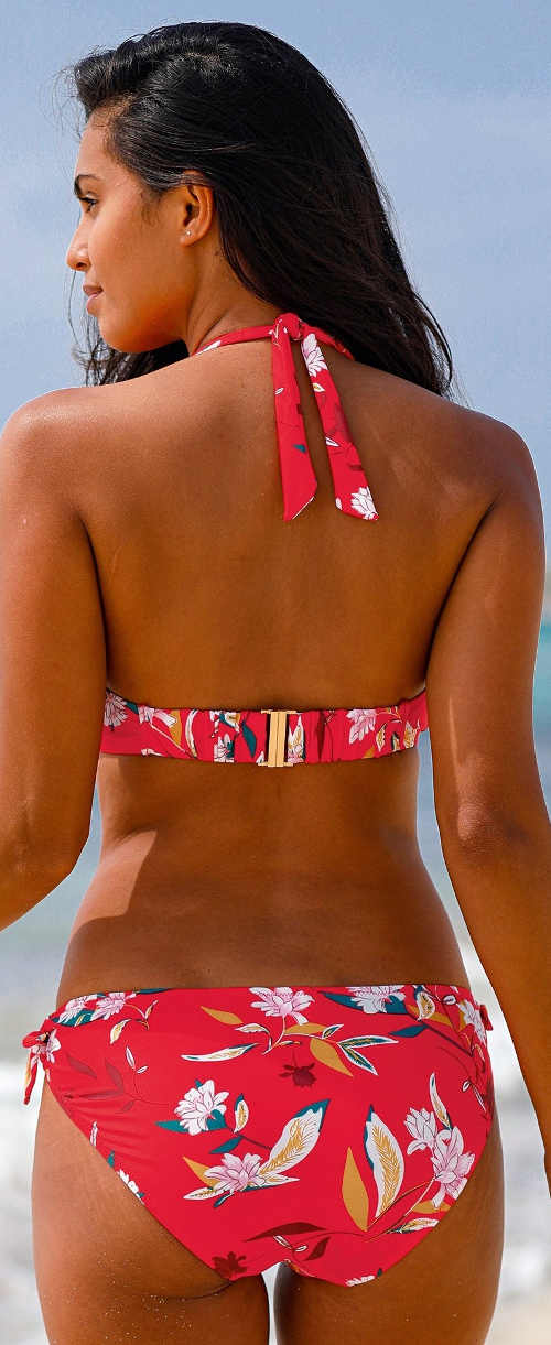 Červené dámské dvoudílné plavky s květinovým potiskem