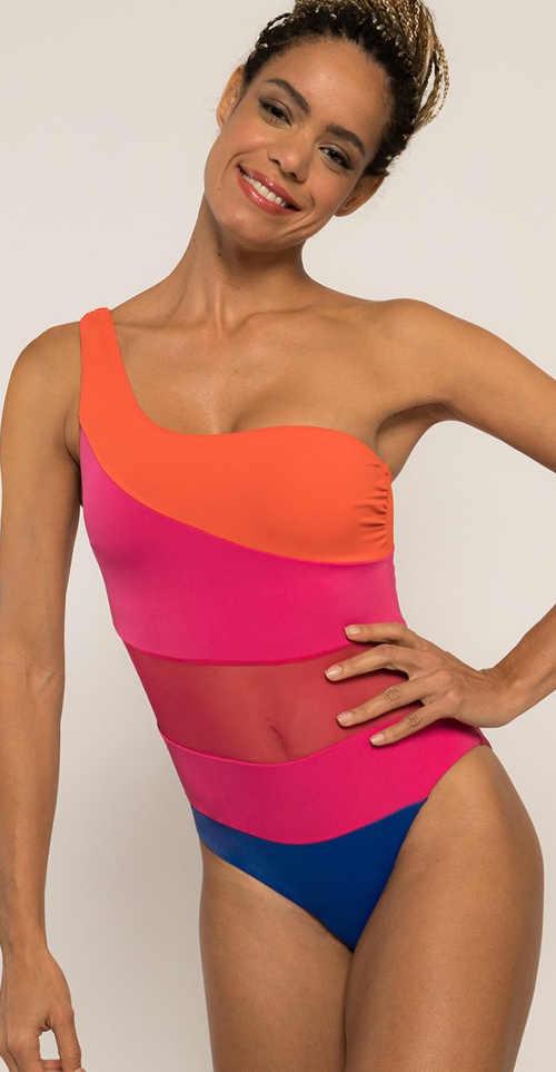 Moderní jednodílné plavky neonové barvy